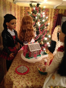 Decorating the gingerbread house.