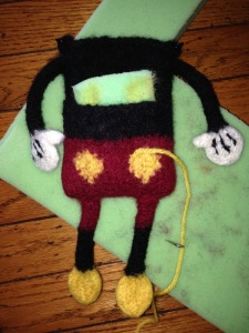 In the process of needle-felting the buttons.